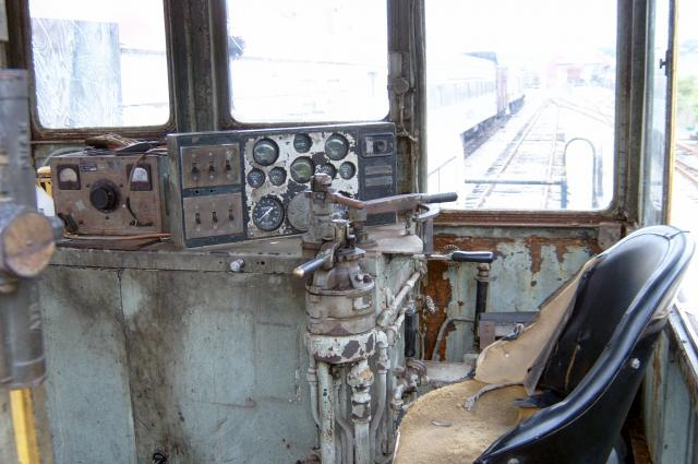Inside cab of engine